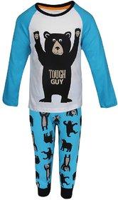 Lazy Shark Boys Cotton Printed Blue Nightwear Top & Bottom Set