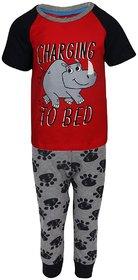 Lazy Shark Boys Cotton Printed Red Nightwear Top & Bottom Set