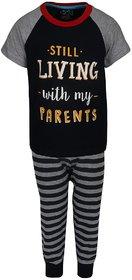 Lazy Shark Boys Cotton Printed Black Nightwear Top & Bottom Set