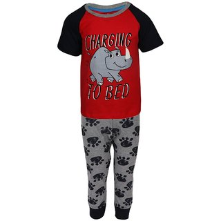 0258d237ec73 Buy Lazy Shark Boys Cotton Printed Red Nightwear Top   Bottom Set ...