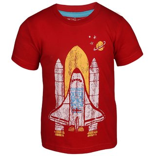 Lazy Shark Boys Cotton Printed Red T-shirt