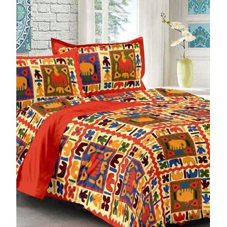 Dinesh Enterprises, Jaipuri and Rajasthani Traditional 250 TC Cotton Double Bedsheet with 2 Pillow Covers - Orange