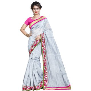 Sarees For Women grey Coulur Chanderi Cotton Saree With Banglori Silk Pink  Coulur Blouse pices