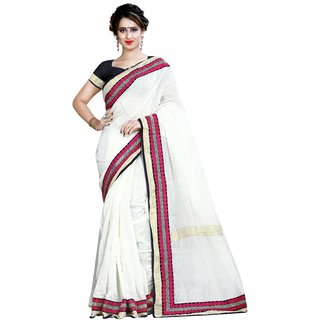 Sarees For Women Off White Coulur Chanderi Cotton Saree With Valvet Black Coulur Blouse pices