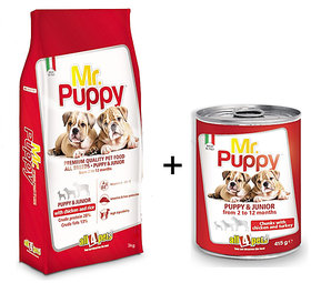 Dog Food Combo Offer Mr.Puppy With Chicken  Rice 3kg + Free Mr.Puppy Chunks With Chicken  Turkey 415gms