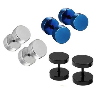 Earrings for Men at Best Prices in India  Men's Fashion Round Barbell Piercing Combo (3 Pairs) Black , Blue, Silver Stainless Steel Stud Earrings Codeys-8898