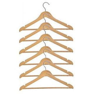 Kudos Wooden Pack of 6 Cloth Hangers (Brown)