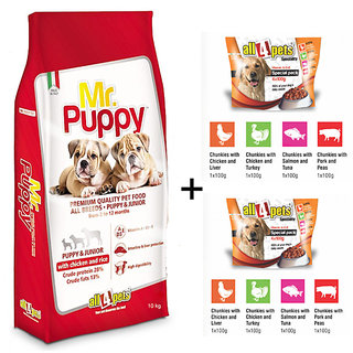 Dog Food Combo Offer Mr.Puppy With Chicken  Rice 10kg + Free Special Pack Chunks in Gravy 41(Pack of 2)