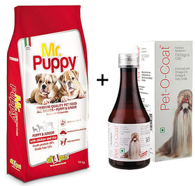 Dog Food Combo offer Mr.Puppy With Chicken  Rice 15kg + Free Pet-O-Coat Syrup 450ml