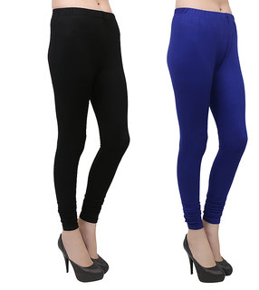 Makeon Fashion Women's cotton Churidar Leggings Combo (Pack of 2 Blue, Black)