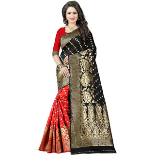 Ajira Black & Red Jacquard Self Design Saree With Blouse