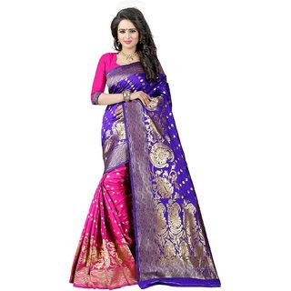 Ajira Blue & Pink Jacquard Self Design Saree With Blouse