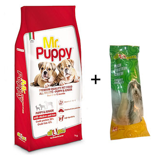 Dog Food Combo Offer Mr.Puppy With Chicken  Rice 1kg + Free 5 Rawhide Bone