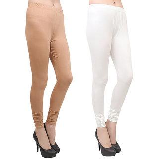 Makeon Fashion Women's cotton Churidar Leggings Combo (Pack of 2 Skincolor, White)