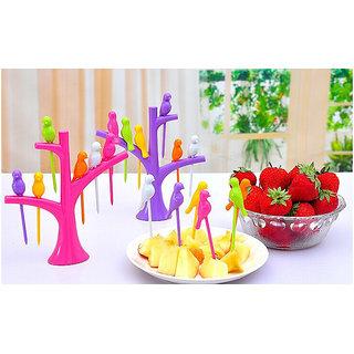 Ankur Birdie Plastic Fruit Fork 6Pcs Set of 2 - Green