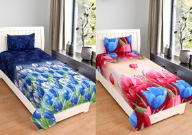RD TREND 3D PRINTED SINGLE BEDSHEET Combo of 2 bedsheet With 2 Pillow Covers