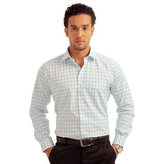 Balista Men's Checkered White Full Sleeve Formal Shirt