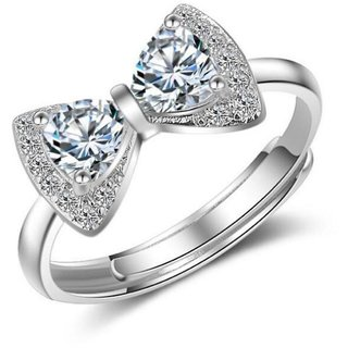 Cubic Zirconia Korean vogue bow Adjustable ring For Women  Girls (Silver)