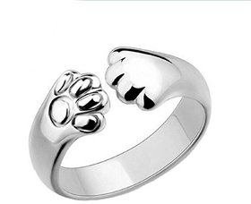 Cute Kitty Cat Adjustable Ring For Women  Girls Sterling Silver Cubic Zirconia Crystal 24K White Gold Plated Ring