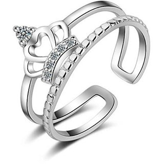 Princess Crown Sterling Silver Cubic Zirconia Crystal Adjustable Ring For Women  Girls (Silver)