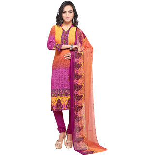 769151b3fef2 Buy Swaron Pink and Orange Crepe Printed Casual Wear Unstitched Dress  Material Online - Get 78% Off