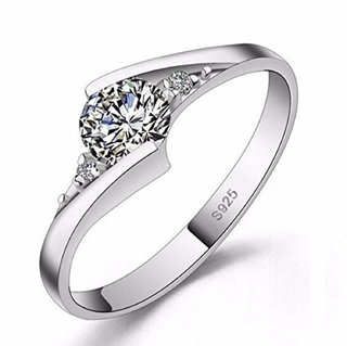 Sizzling Solitaire Adjustable Ring For Women  Girls Sterling Silver Cubic Zirconia Crystal 24K White Gold Plated Ring