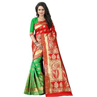 Ajira Green & Red Jacquard Self Design Saree With Blouse