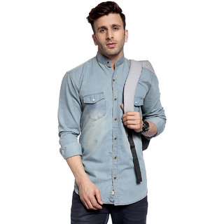 cd2d23a827 Buy Hangup solid with washing effect denim shirt for mens Online ...
