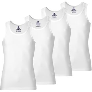 Rider Blue Bird 80-85 Cotton White Vests for Men (Pack of 4)
