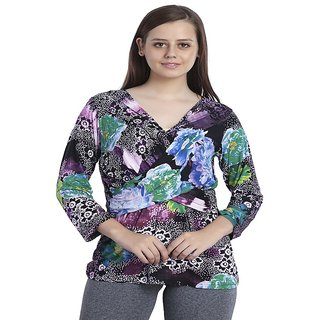 0265b63ffe INSPIRE WORLD Women s Best Finishing Talpat Digital Printed Top With Deep  Neck In 100 Pure Viscose Lycra Imported Fabric - Graceful Multi Colors  Purple