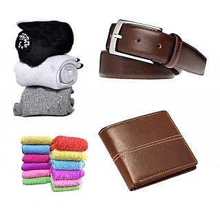 Angel Home Combo of 3 socks, 1 Wallet, 1 belt  2 face towel