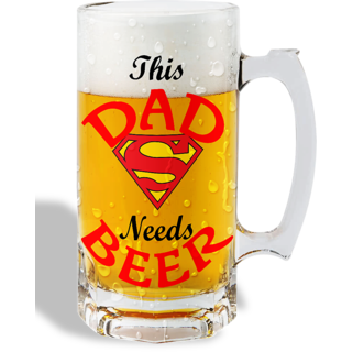 Print Operas  Printed Designer Beer mugs of 0.5 quart and Premium Glossy Finish taransparent - This dad needs beer