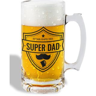 Print Operas  Printed Designer Beer mugs of 0.5 quart and Premium Glossy Finish taransparent - Super dad