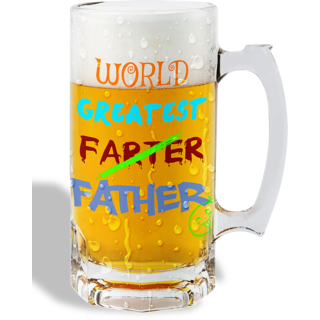 Print Operas  Printed Designer Beer mugs of 0.5 quart and Premium Glossy Finish taransparent - Worlds greatest father