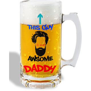 Print Operas  Printed Designer Beer mugs of 0.5 quart and Premium Glossy Finish taransparent - This guy is one awesome daddy