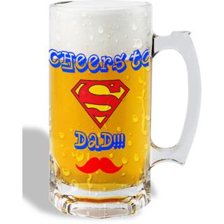 Print Operas  Printed Designer Beer mugs of 0.5 quart and Premium Glossy Finish taransparent - Cheers to dad