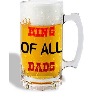 Print Operas  Printed Designer Beer mugs of 0.5 quart and Premium Glossy Finish taransparent - King of all dads