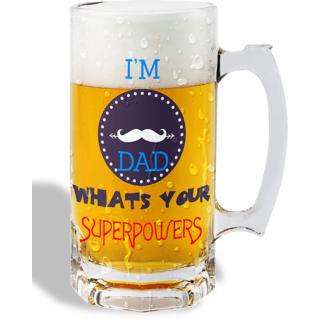 Print Operas  Printed Designer Beer mugs of 0.5 quart and Premium Glossy Finish taransparent - Whats you superpower