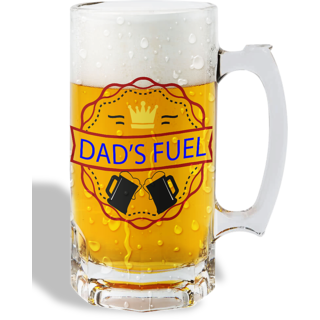 Print Operas  Printed Designer Beer mugs of 0.5 quart and Premium Glossy Finish taransparent - Dad's fuel