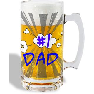 Print Operas  Printed Designer Beer mugs of 0.5 quart and Premium Glossy Finish taransparent - dad
