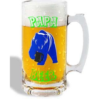 Print Operas  Printed Designer Beer mugs of 0.5 quart and Premium Glossy Finish taransparent - Papa beer