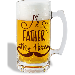 Print Operas  Printed Designer Beer mugs of 0.5 quart and Premium Glossy Finish taransparent - My father my hero