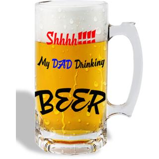 Print Operas Printed Designer Beer mugs of 0.5 quart and Premium Glossy Finish taransparent - My dad drinking beer