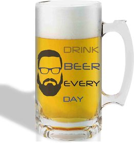 Print Operas  Printed Designer Beer mugs of 0.5 quart and Premium Glossy Finish taransparent - Drink beer everyday