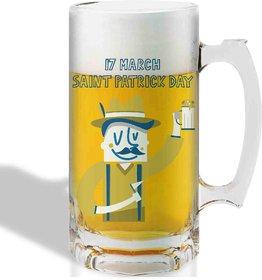 Print Operas  Printed Designer Beer mugs of 0.5 quart and Premium Glossy Finish taransparent - 17 march saint patrick day
