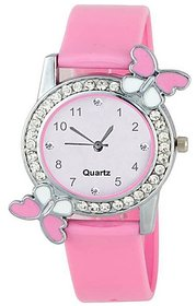 Varni Retail Pink Dial With Diamond Silver Case Pink Be