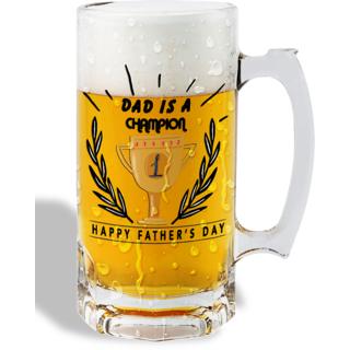 Print Operas  Printed Designer Beer mugs of 0.5 quart and Premium Glossy Finish taransparent - Dad is a champion