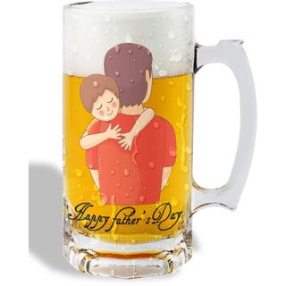 Print Operas  Printed Designer Beer mugs of 0.5 quart and Premium Glossy Finish taransparent - Father love