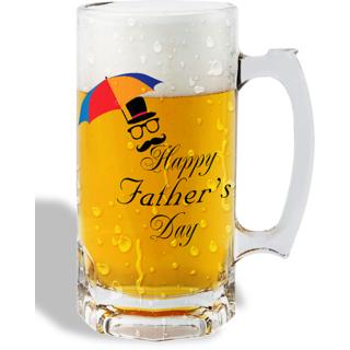 Print Operas  Printed Designer Beer mugs of 0.5 quart and Premium Glossy Finish taransparent - Happy father's day