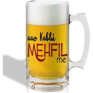 Print Operas Printed Designer Beer mugs of 0.5 quart and Premium Glossy Finish taransparent - Aao kabhi mehfil me